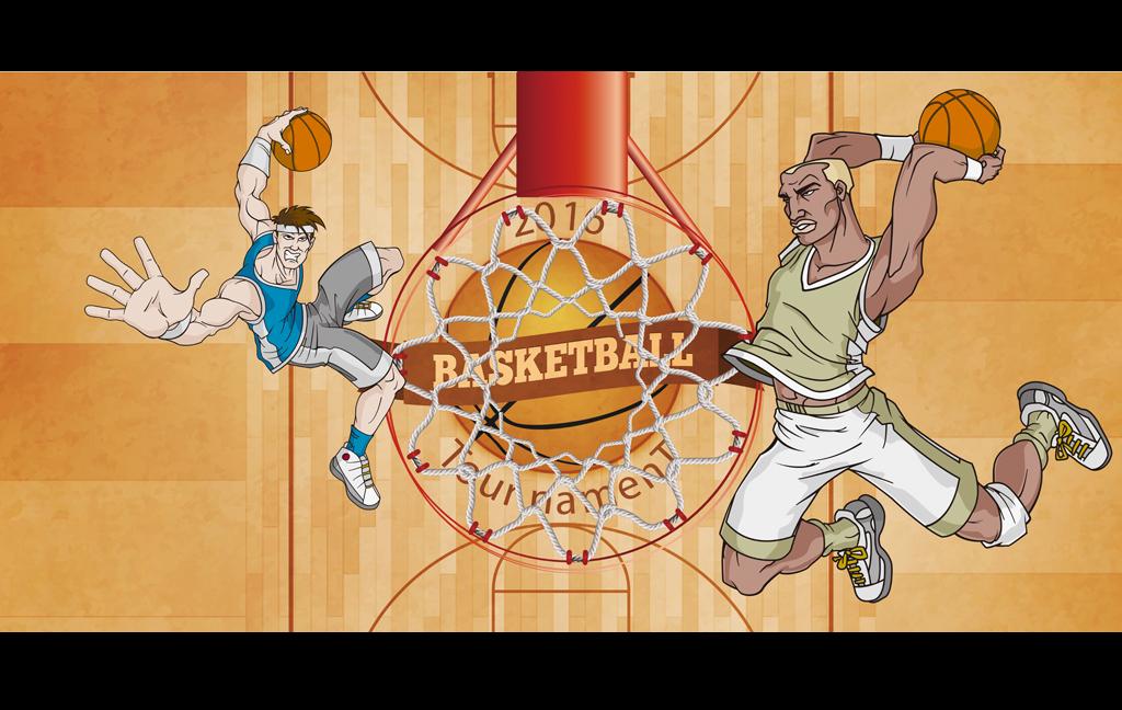 动漫手绘篮球场灌篮手绘图工装背景墙