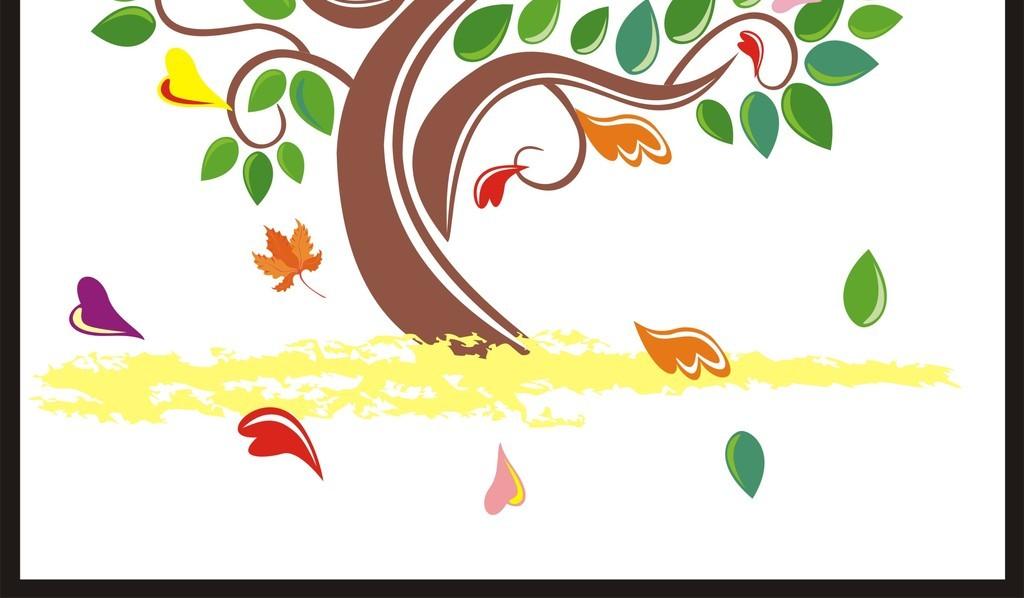抽象装饰画无框画智慧树爱心树卡通手绘树
