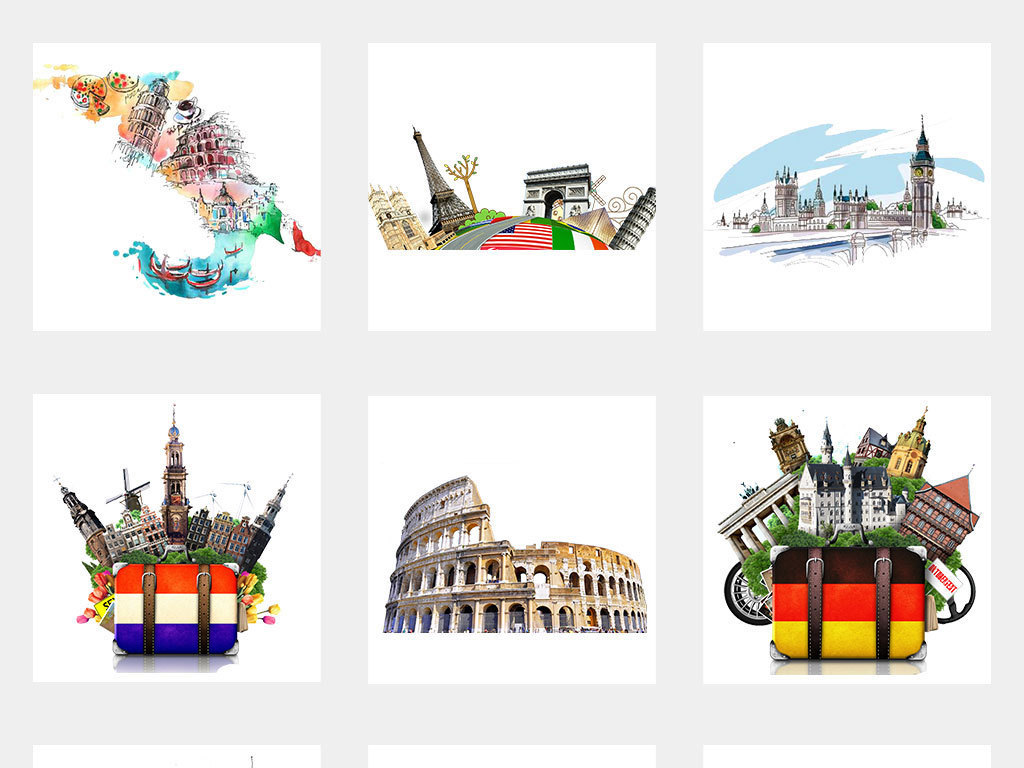 手绘水彩欧洲旅游海报设计素材大全