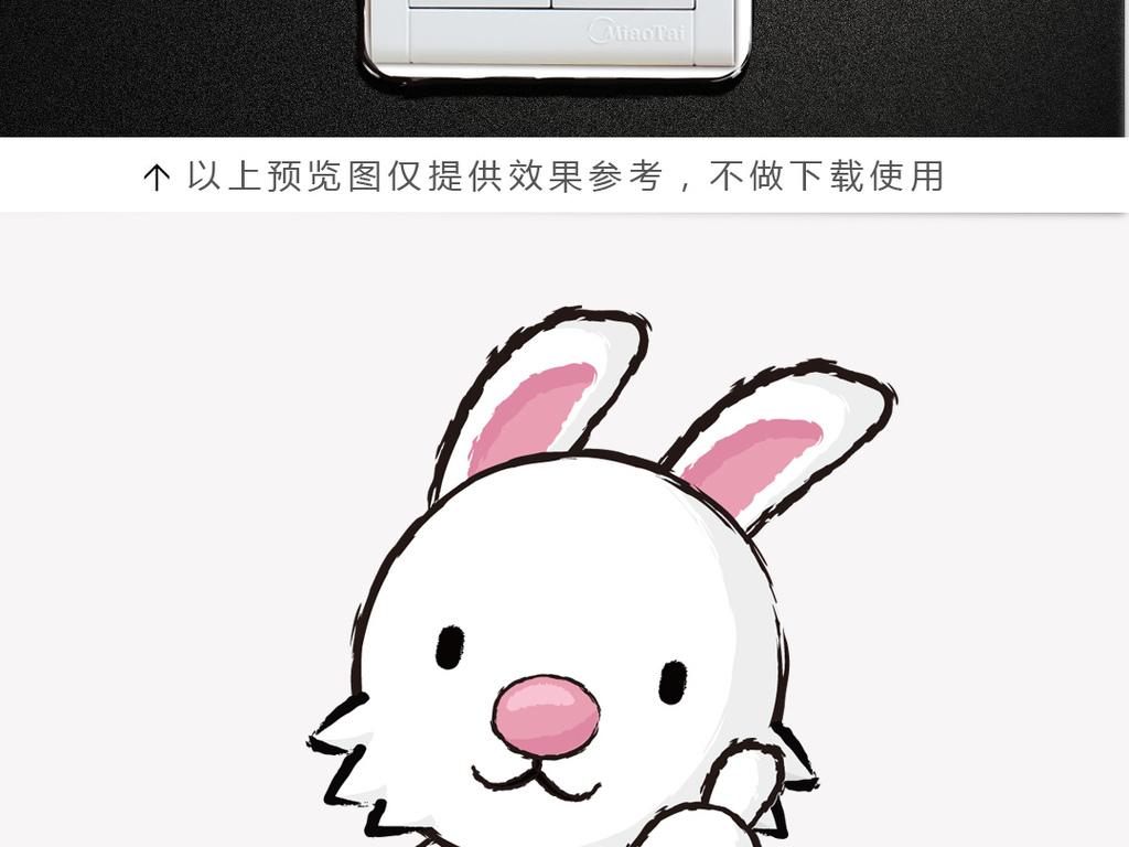 萌宠卡通十二生肖之卯兔开关贴