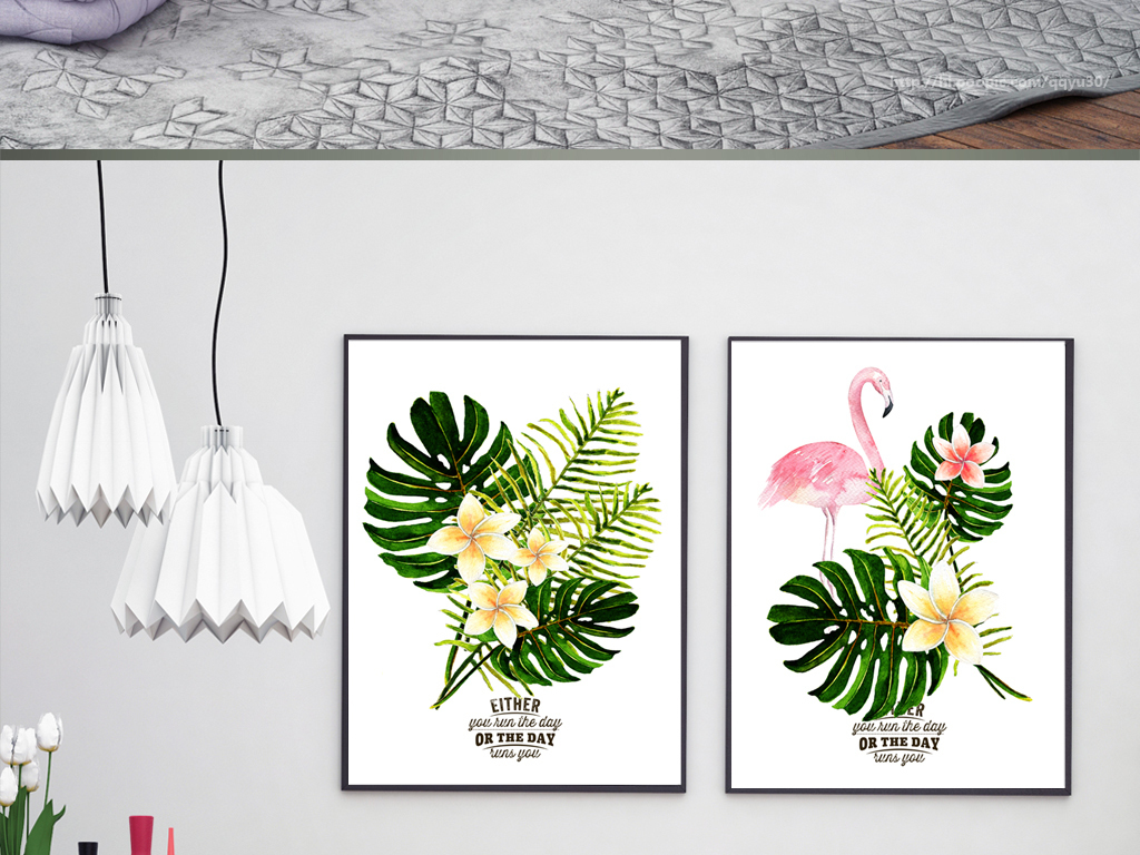 北欧装饰画植物叶子火烈鸟挂画