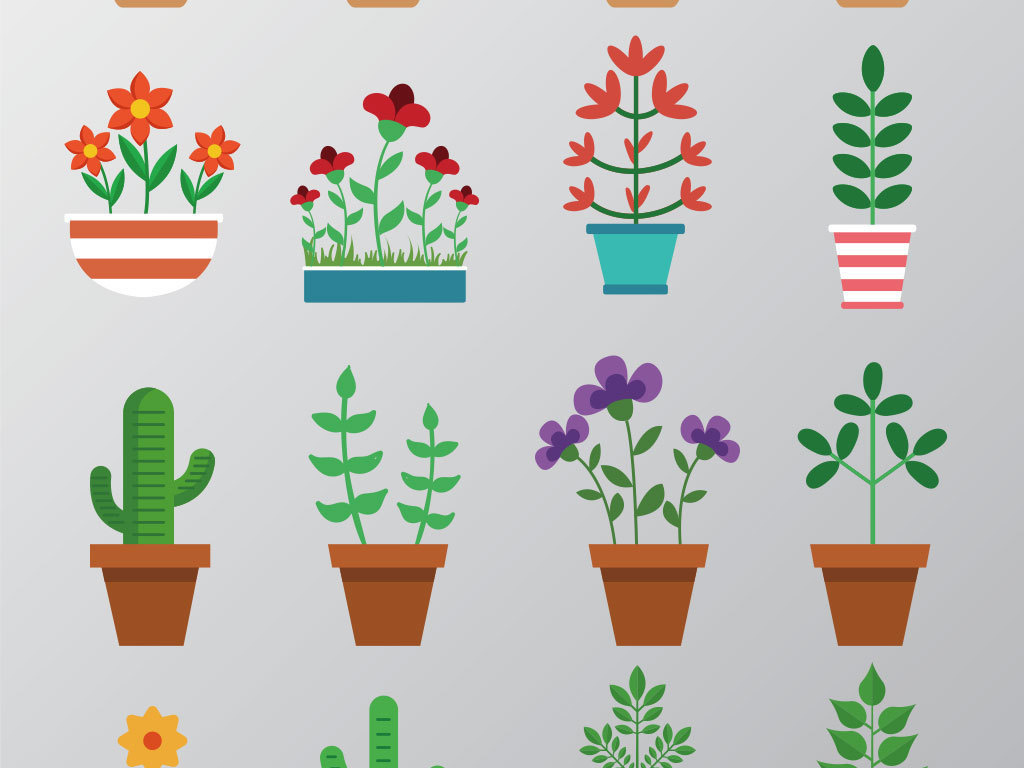 手绘素材手绘盆栽绿色植物透明素材清新手绘多肉