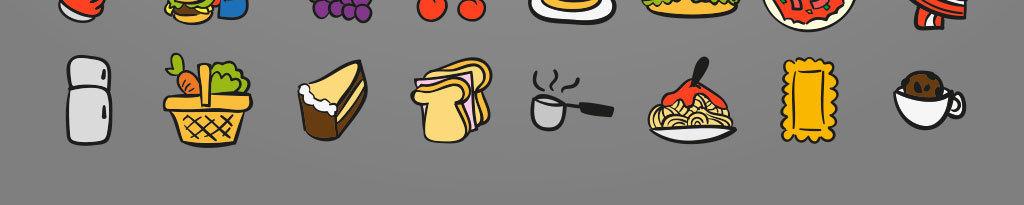 彩色手绘美食图标icon设计素材