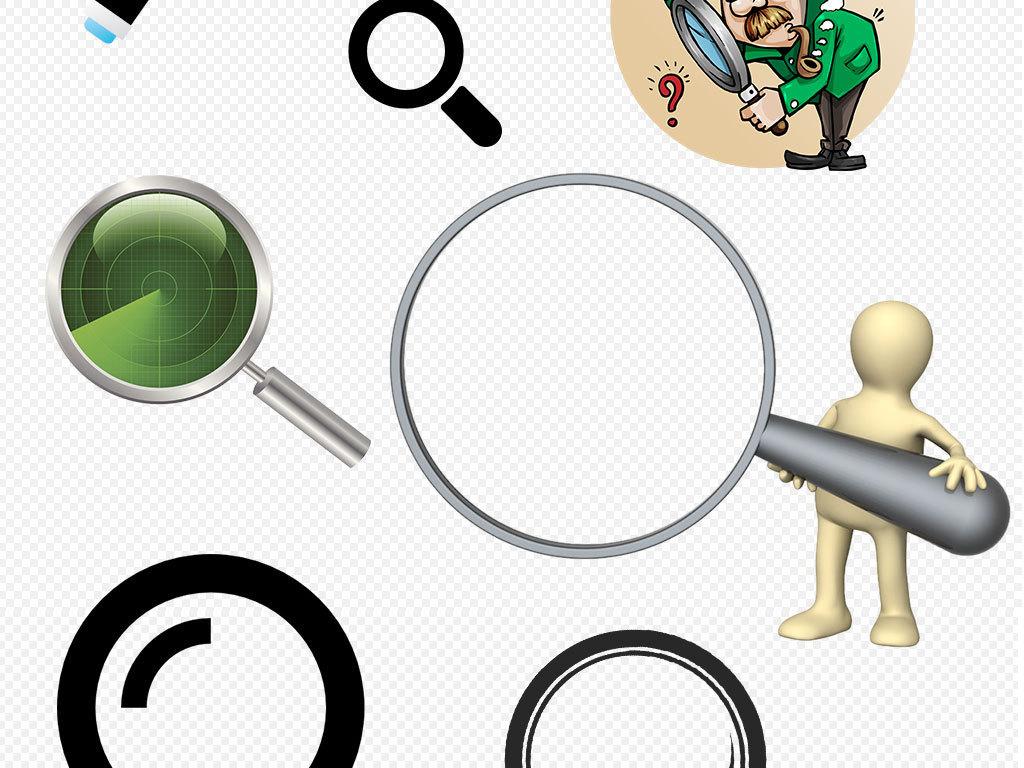 设计元素 其他 效果素材 > 卡通手绘手拿放大镜观察效果png素材下载