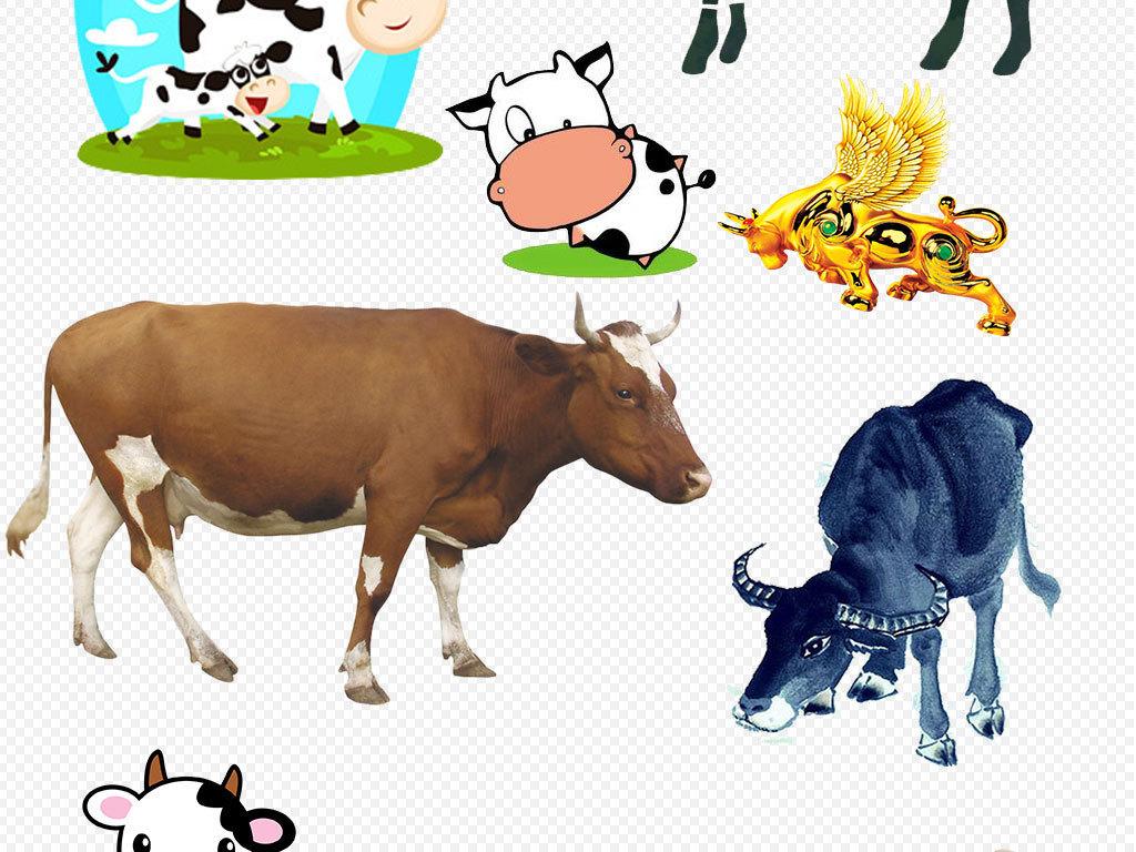 卡通可爱奶牛手绘小牛动物素材下载