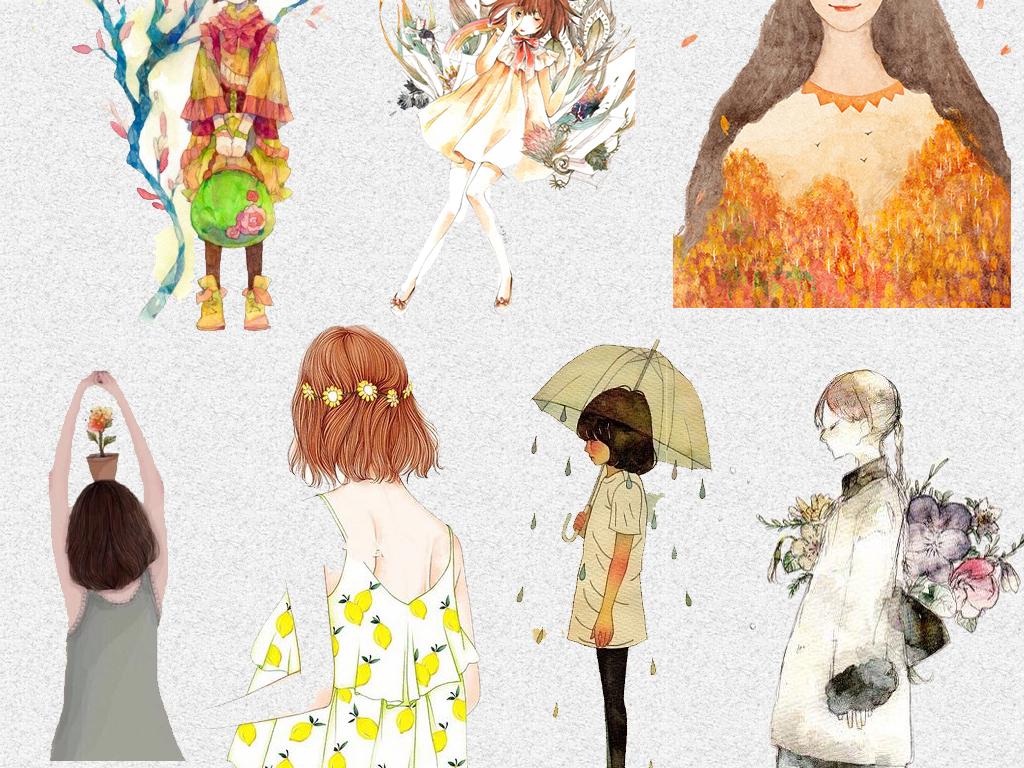 唯美卡通手绘森系文艺小女孩png设计素材