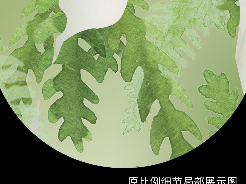 新现代简约立体绿色森系麋鹿时尚3d背景墙