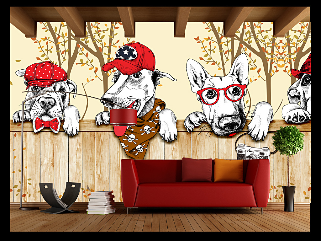 手绘卡通宠物店背景墙装饰画