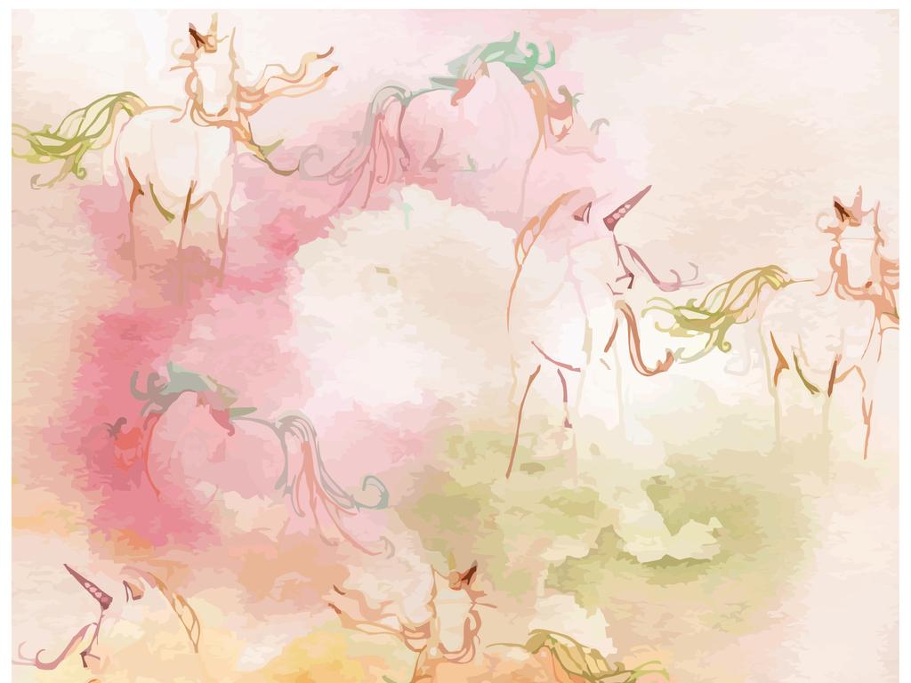 设计作品简介: 中国风人像人物插画马动物图案印花泼溅水墨 矢量图, r