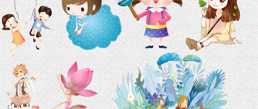 设计元素 其他 装饰图案 > 可爱卡通手绘日系漫画女孩png设计素材
