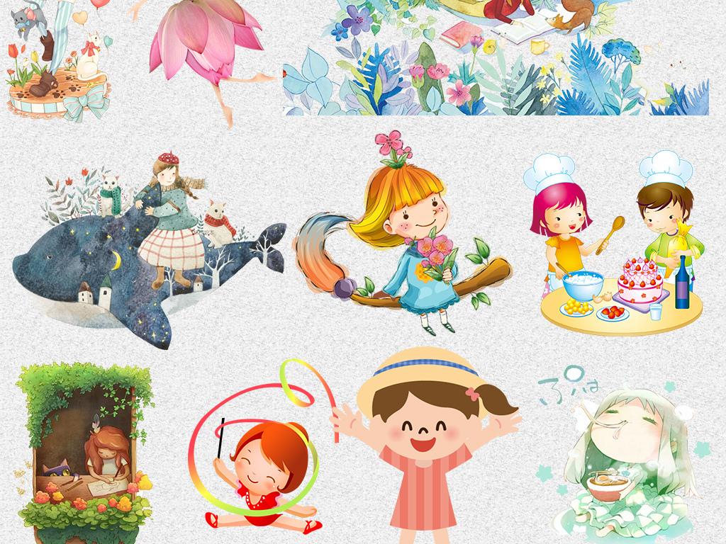 可爱卡通手绘日系漫画女孩png设计素材
