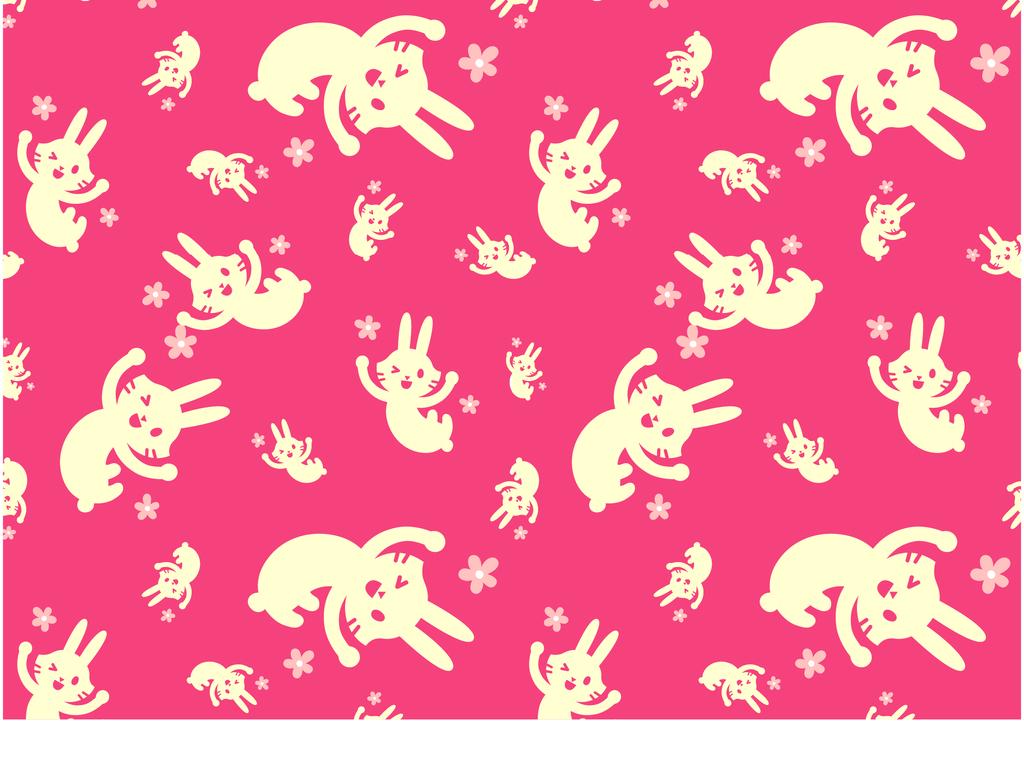 卡通兔子动物图案小清新印花小碎花素材