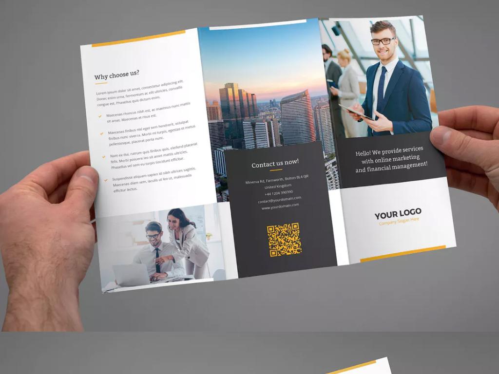 蓝色商务公司宣传单三折页设计产品宣传册图片