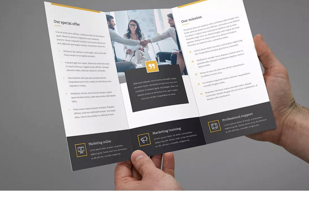 平面|广告设计 宣传单 折页设计|模板 > 蓝色商务公司宣传单三折页图片