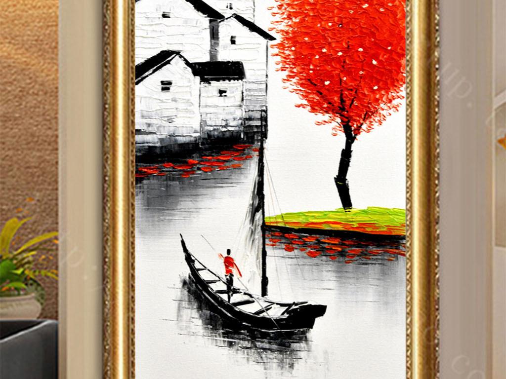 背景墙|装饰画 玄关 油画|立体油画玄关 > 手绘高清鱼米之乡发财树