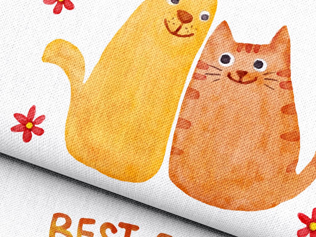 护腰靠垫方形枕套印花                                  卡通动物