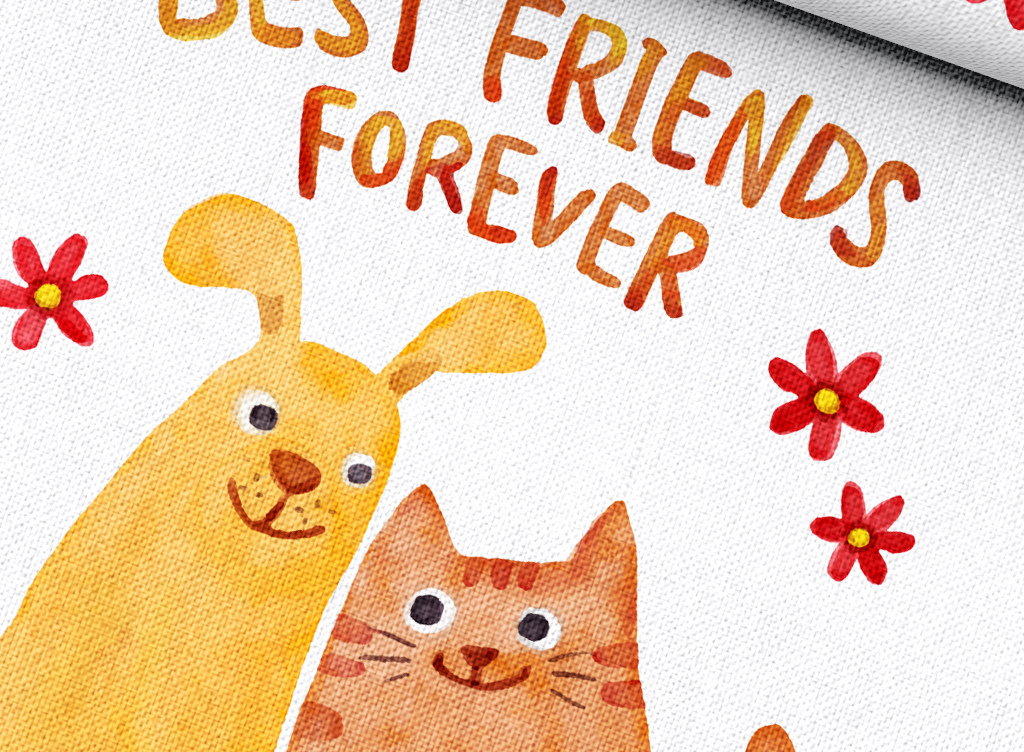 水彩手绘卡通猫咪小动物抱枕矢量印花图案
