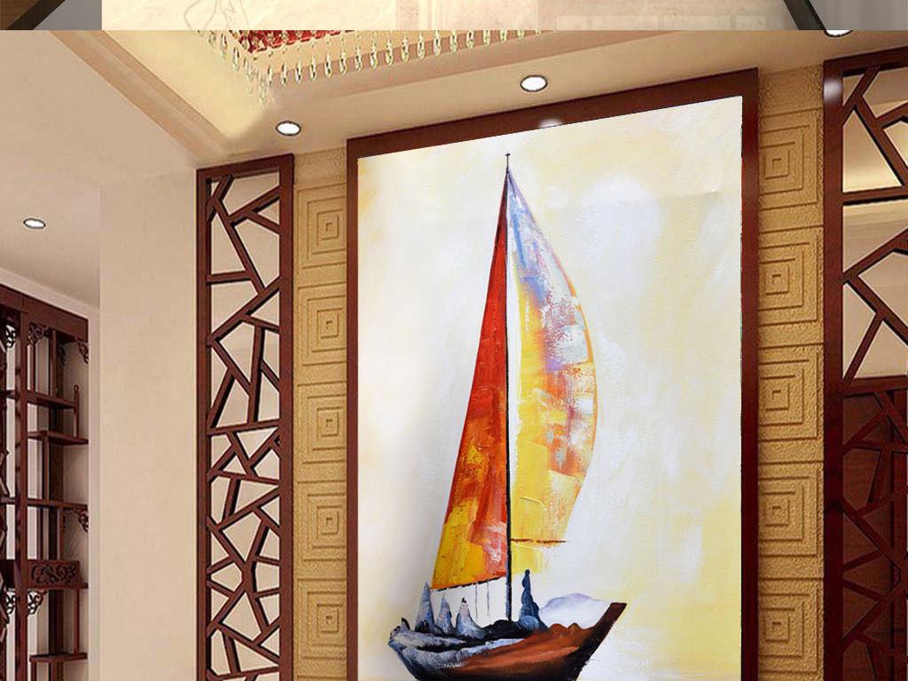 高清手绘立体一帆风顺油画玄关