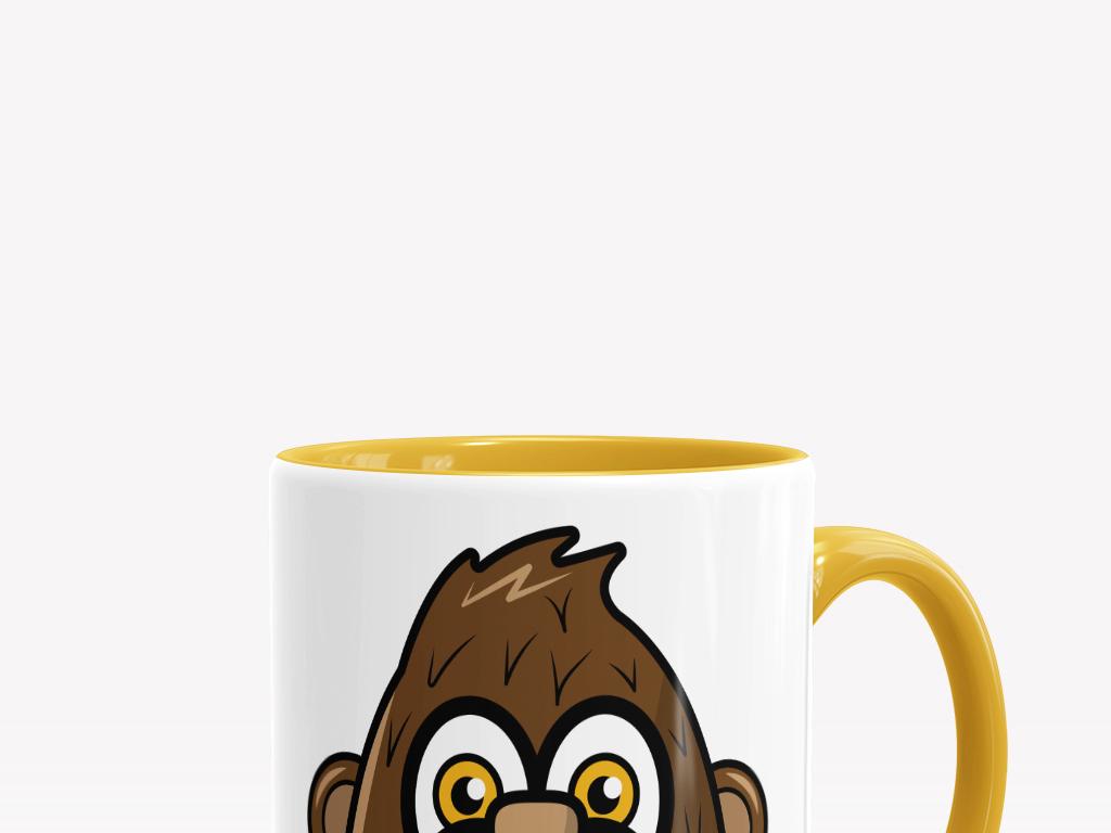 卡通手绘猴子马克杯子图案矢量印花