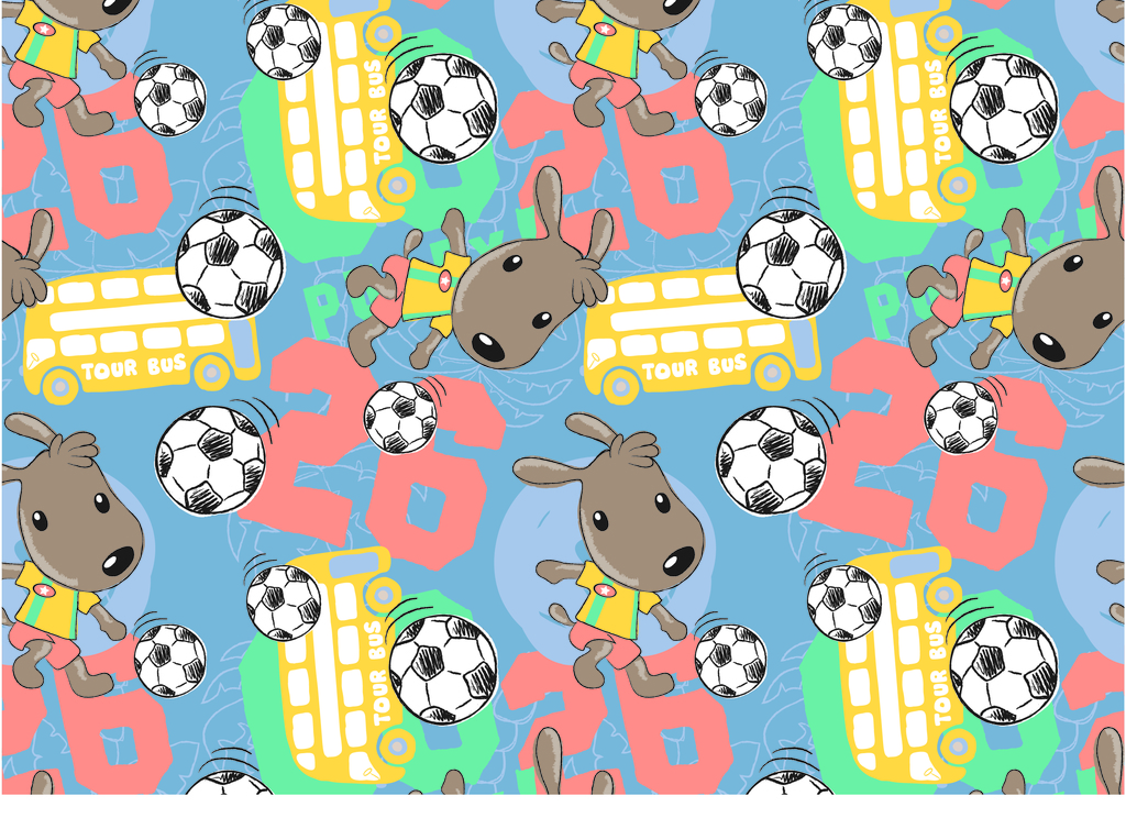 小狗足球公交汽车数字卡通图案印花童装t恤