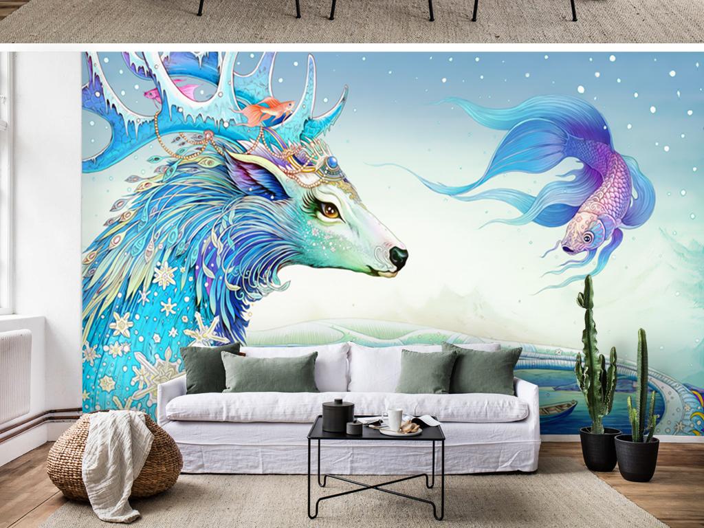 蓝色现代唯美手绘梦幻麋鹿飞鱼壁画背景墙