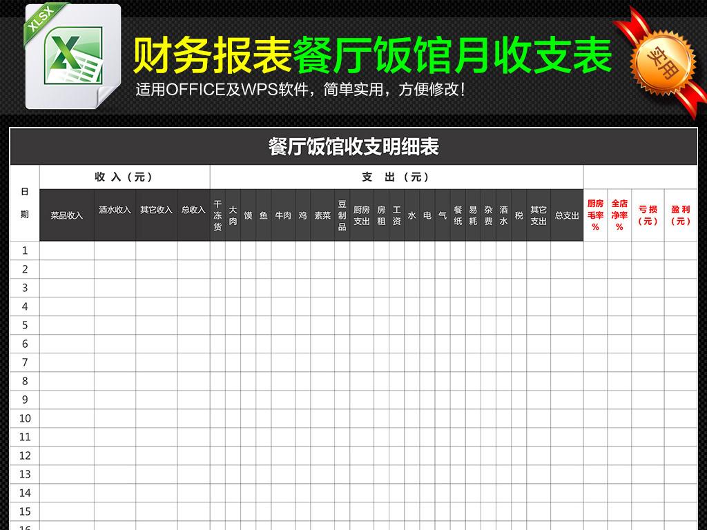 餐厅饭店财务日常收支明细表月报表模板下载 excel格式素材 图片0.01