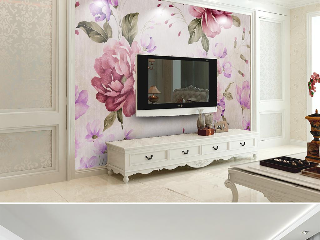 唯美手绘水彩花卉复古美式田园卧室床头背景
