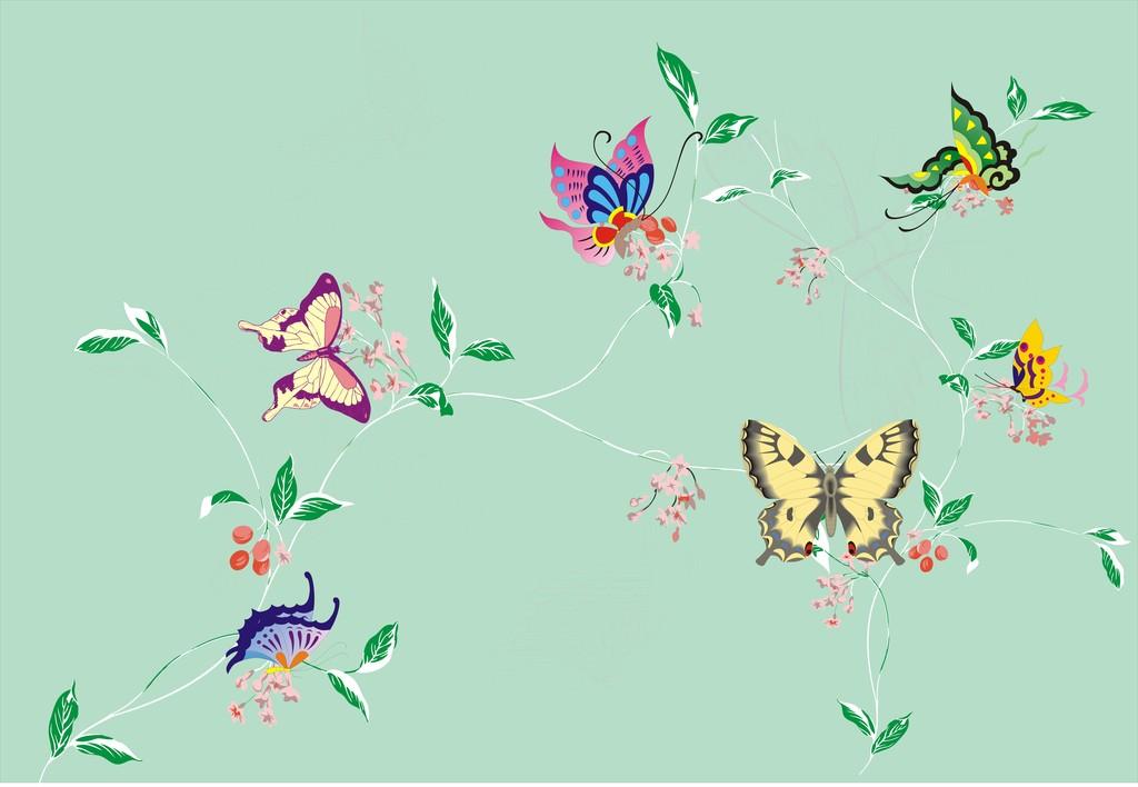 背景墙|装饰画 墙贴 植物花卉 > 儿童房背景墙花卉墙贴手绘蝴蝶墙贴