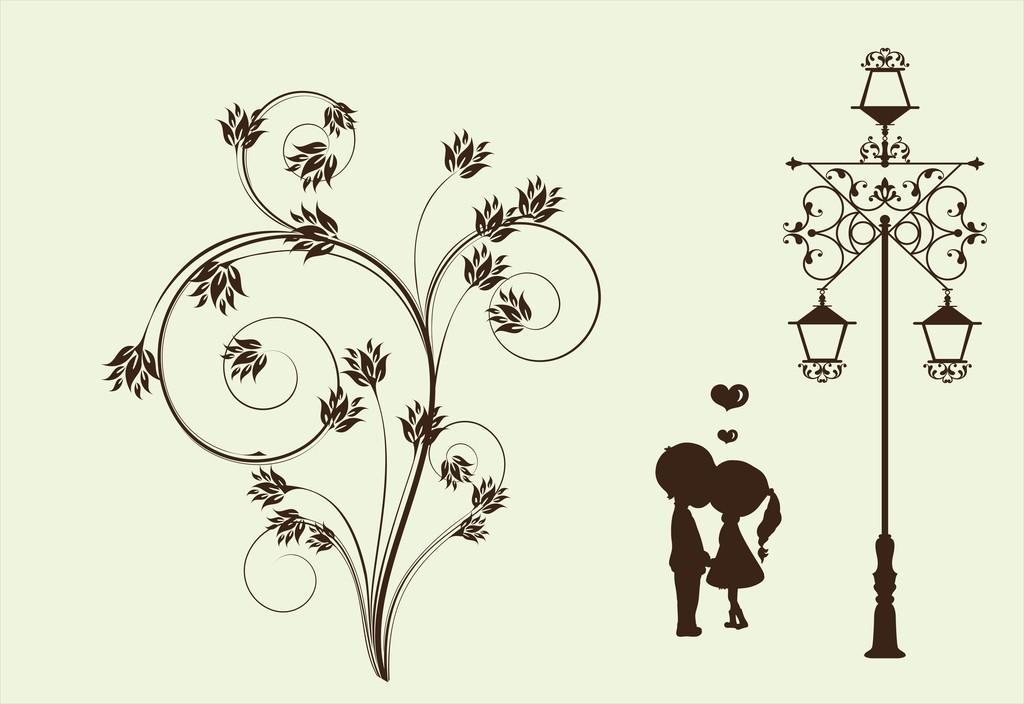 儿童房背景手绘墙纸壁画墙贴路灯下墙贴花卉