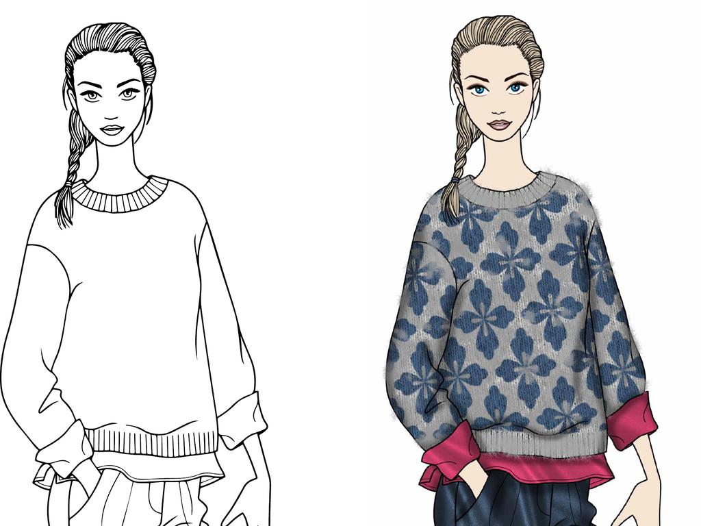 手绘设计手稿模板高清可印刷女装效果图素材服装比赛设计效果图效果图