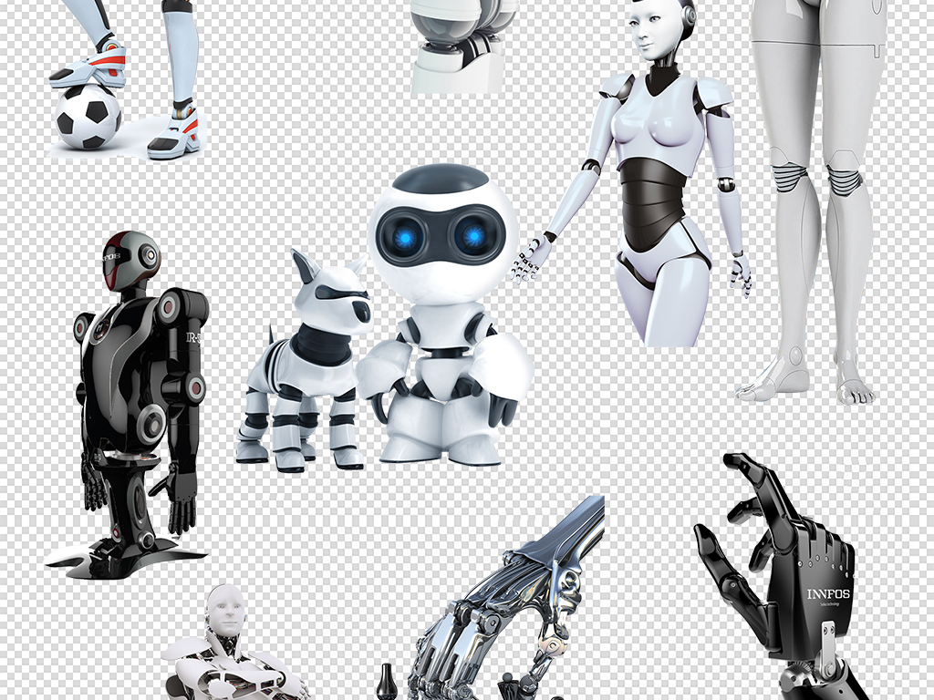 手绘机器人图标乐高机器人素材人工智能机器人科技素材机器人机械人工