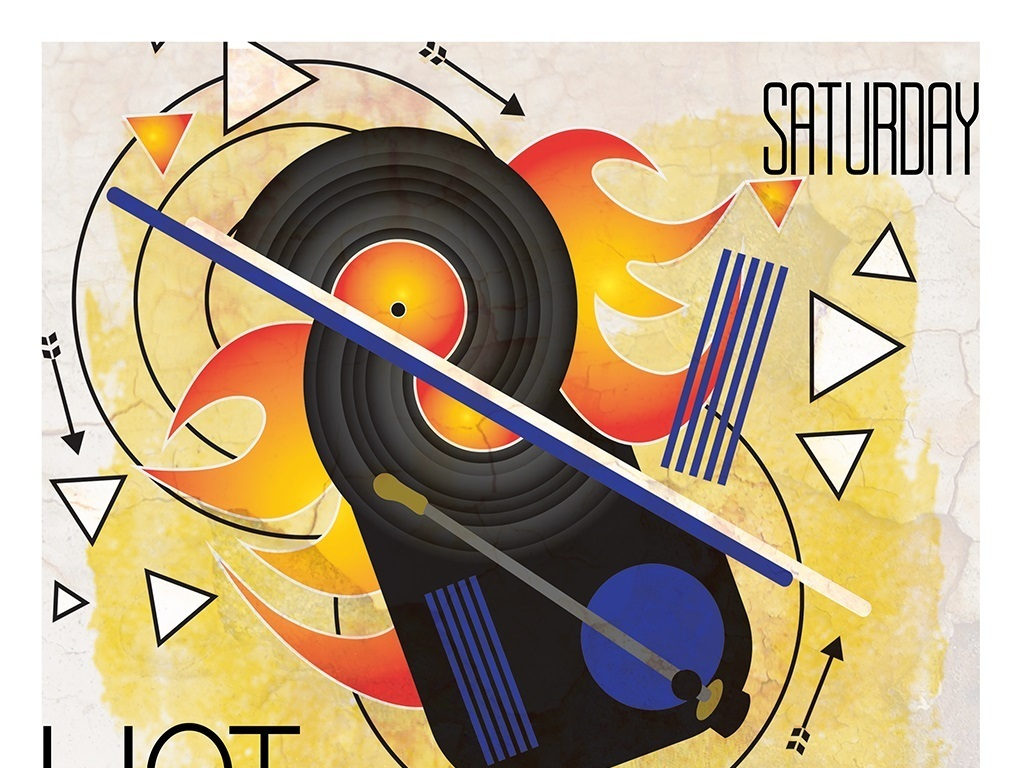 平面|广告设计 海报设计 国外创意海报 > 手绘几何抽象艺术音乐派对