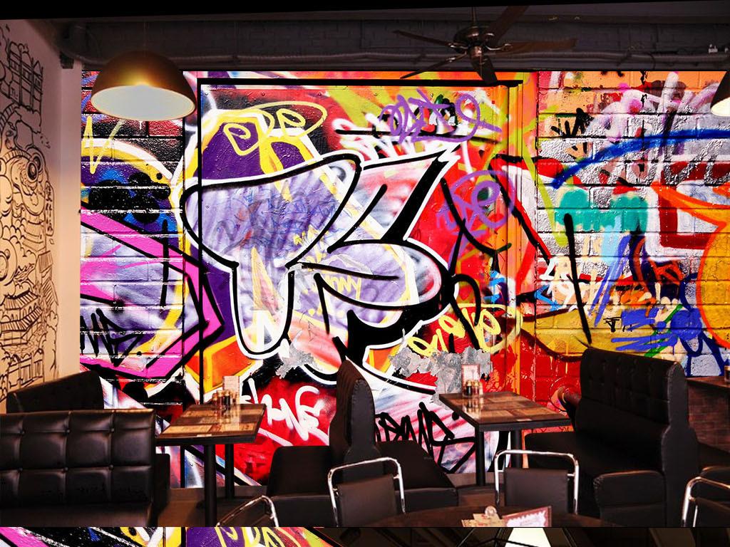 背景墻|裝飾畫 壁畫 手繪壁畫 > 餐廳酒吧ktv復古涂鴉背景墻裝飾畫