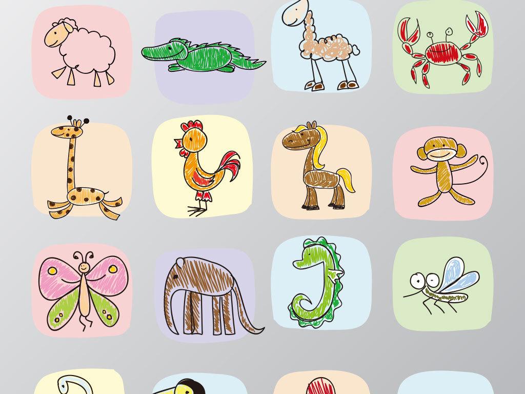 多款手绘卡通动物矢量图(图片编号:16677177)_装饰_我
