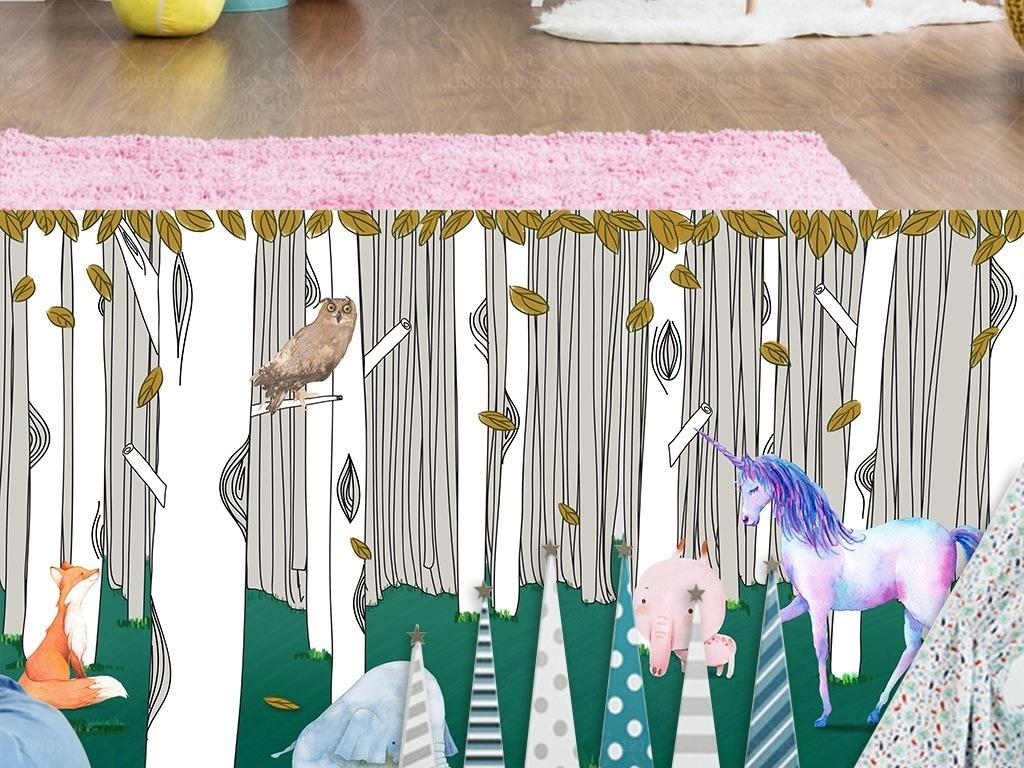 手绘水彩草地白桦树林动物儿童房背景墙