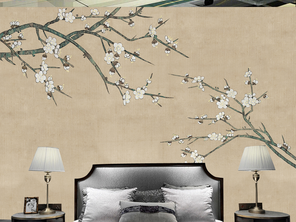 水墨白梅工笔画新中式背景墙图片