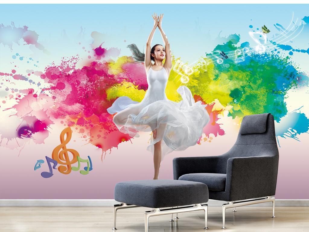 唯美彩绘舞动青春舞者背景墙
