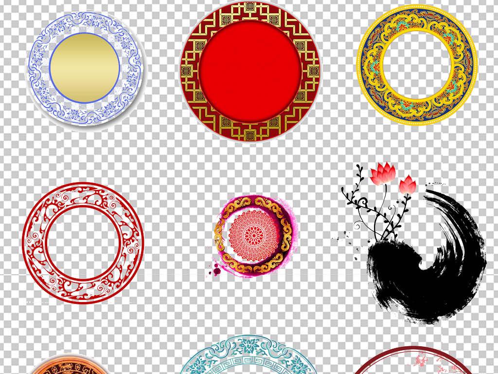 ps海报素材墨圈水墨圆环中国风元素中国风圆环水墨圆圆形设计中国圆圈图片