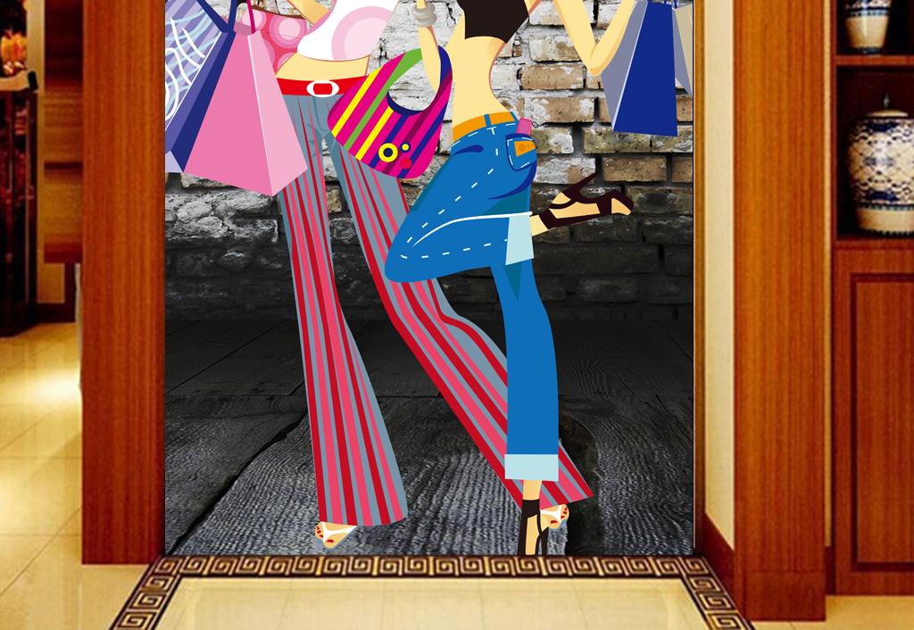3d墙壁手绘美女服装店商场工装玄关