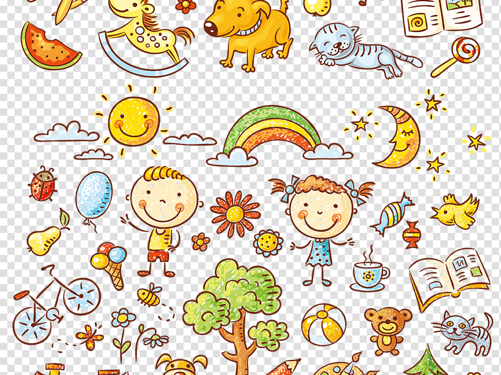 卡通素材手绘图片儿童png免扣图片素材