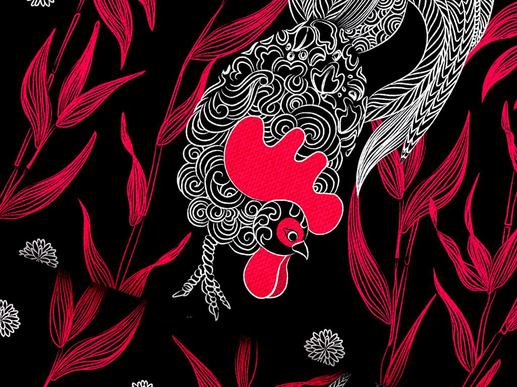 几何动物植物鸡宠物类唯美手绘公鸡插画工笔插画背景背景插画插画手绘