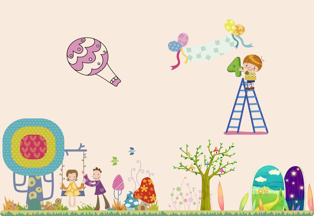 儿童房背景墙卡通热气球墙贴彩虹墙贴时尚贴图片