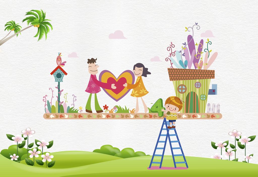 卡通墙纸                                  椰子树手绘墙贴
