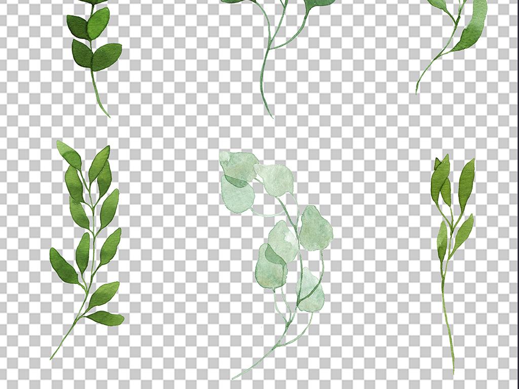 水彩手绘树叶免扣png素材