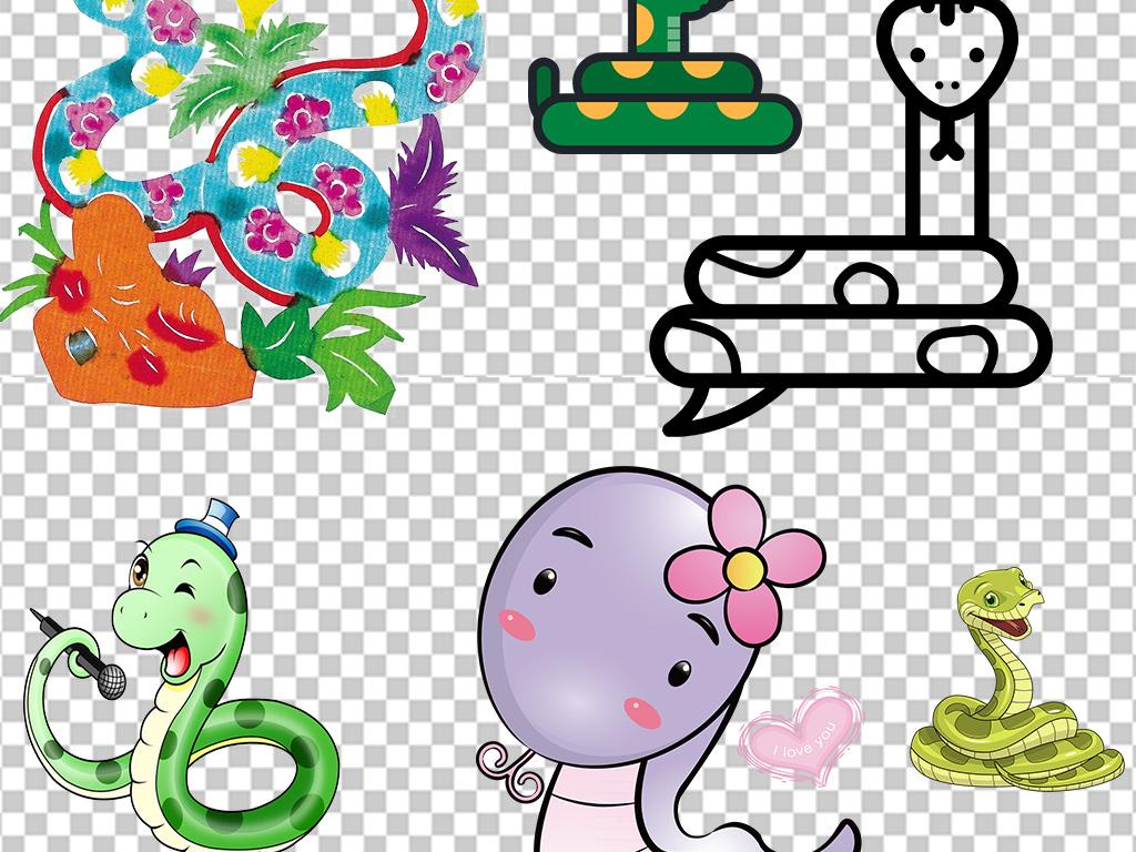 可爱蛇卡通蛇年素材动物蛇图片