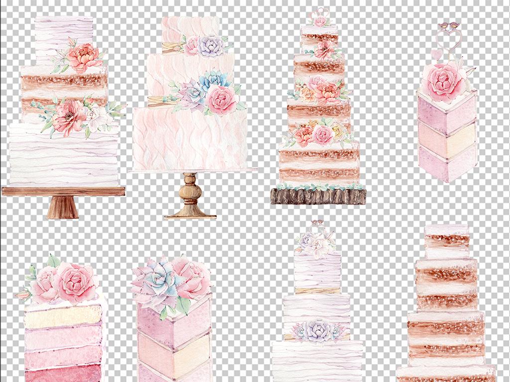 水彩卡通生日手绘蛋糕海报设计元素免抠素材