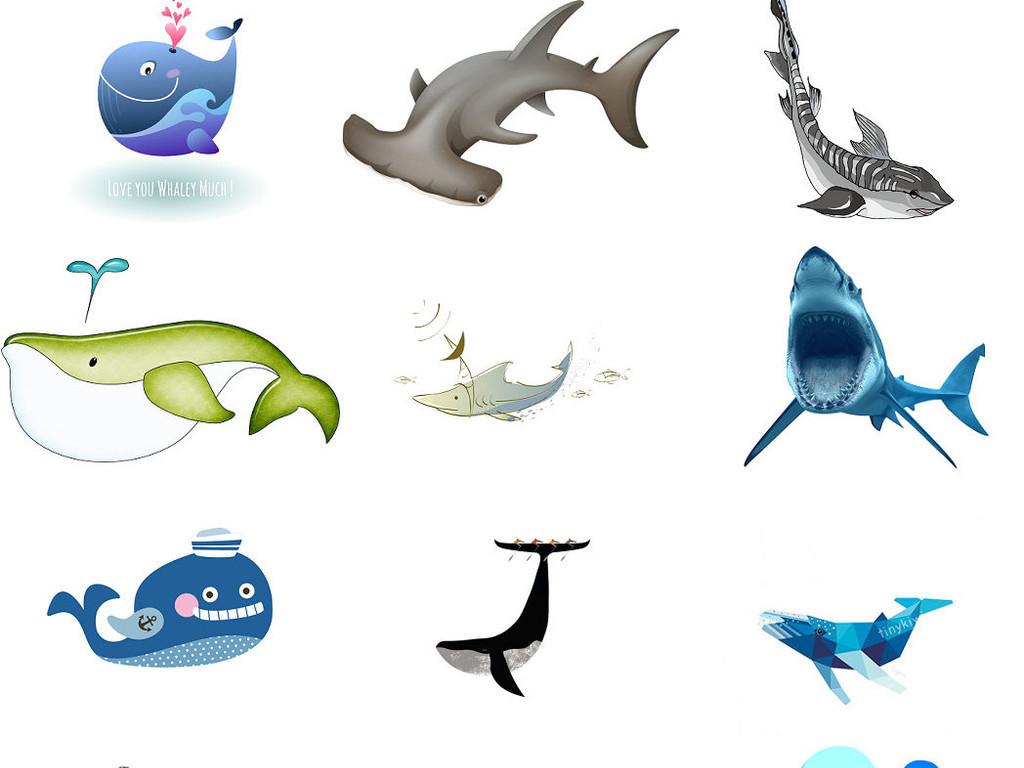 海底动物鲸鱼海豚卡通海底世界鲨鱼3
