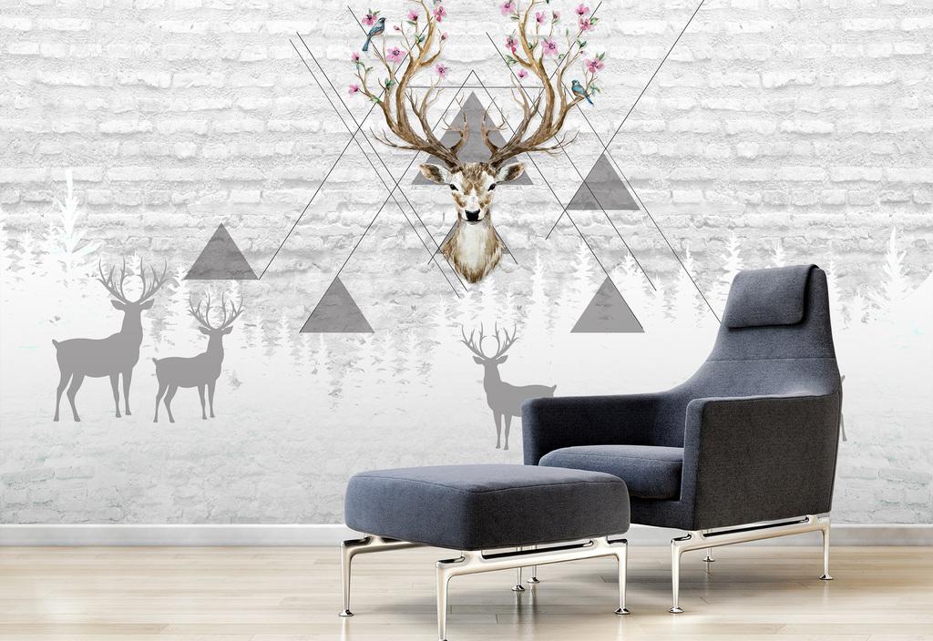 背景墙|装饰画 电视背景墙 欧式电视背景墙 > 北欧简约手绘几何图形