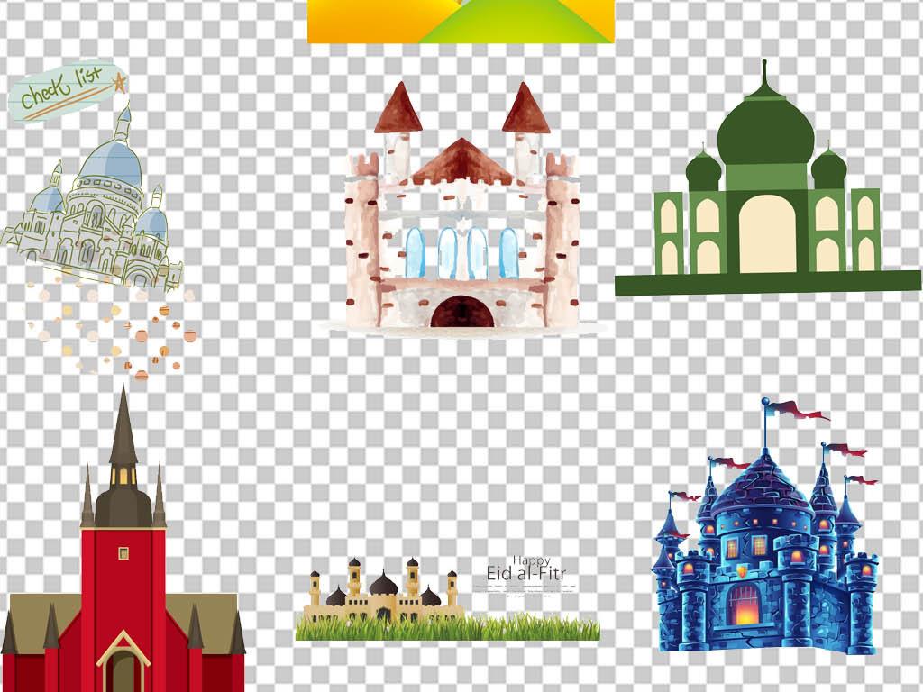 城堡设计彩色梦幻卡通城堡免抠童趣梦幻卡通小屋梦幻小屋扁平卡通卡通
