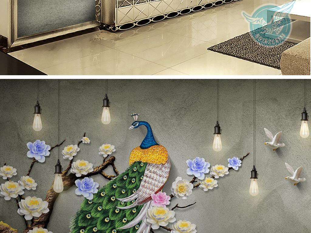 孔雀花朵艺术画手绘墙手绘背景墙3d怀旧背景中式3d背景立体立体背景